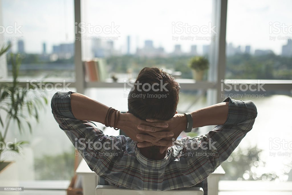 Resting man stock photo