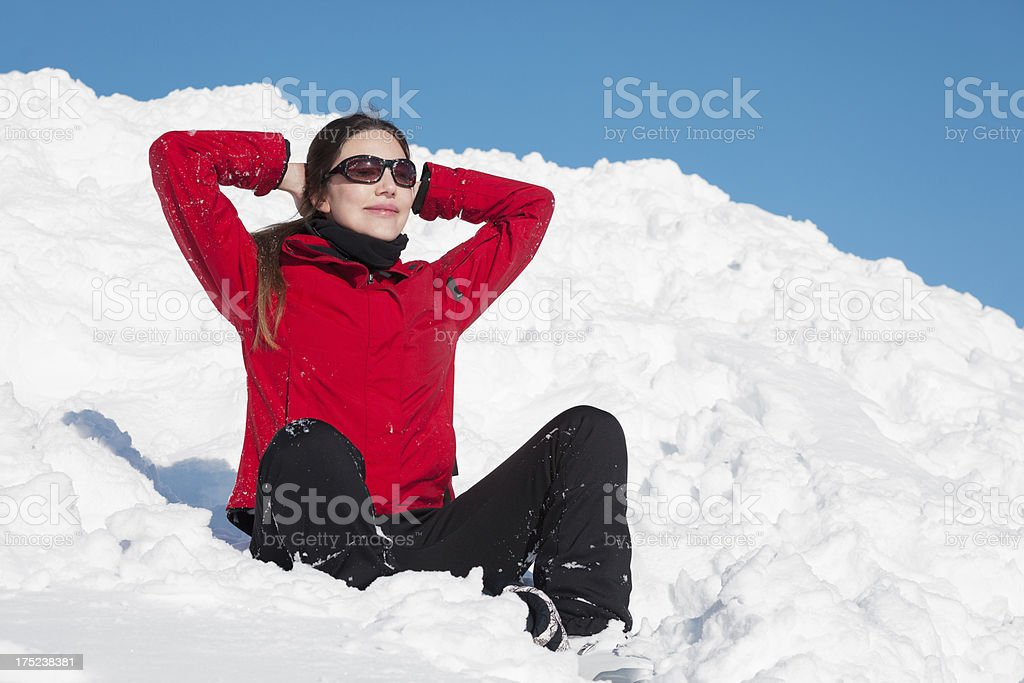 Resting on snow royalty-free stock photo