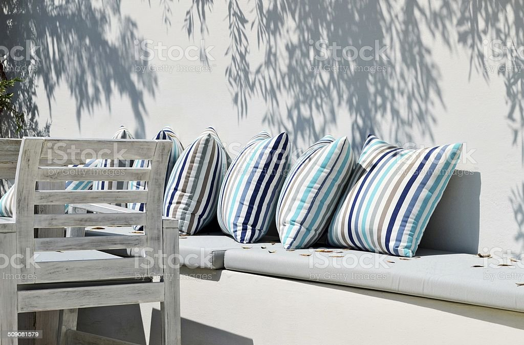 Resting place outdoor with pillows stock photo
