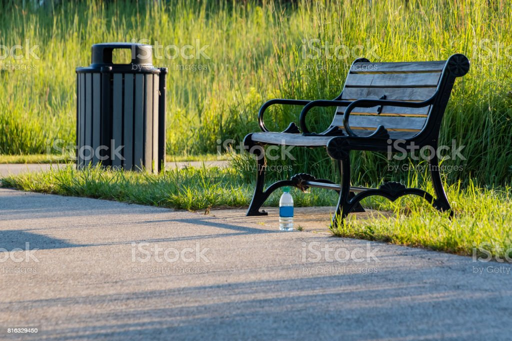 resting point on a public running trail stock photo