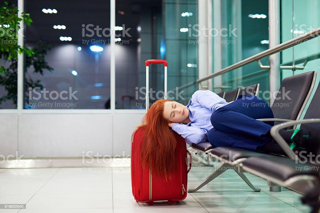 resting while my flight is on stock photo