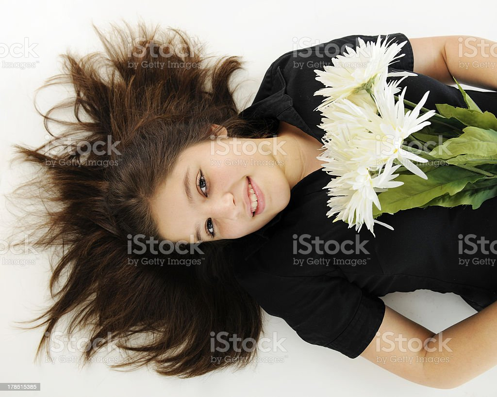 Resting with Flowers royalty-free stock photo