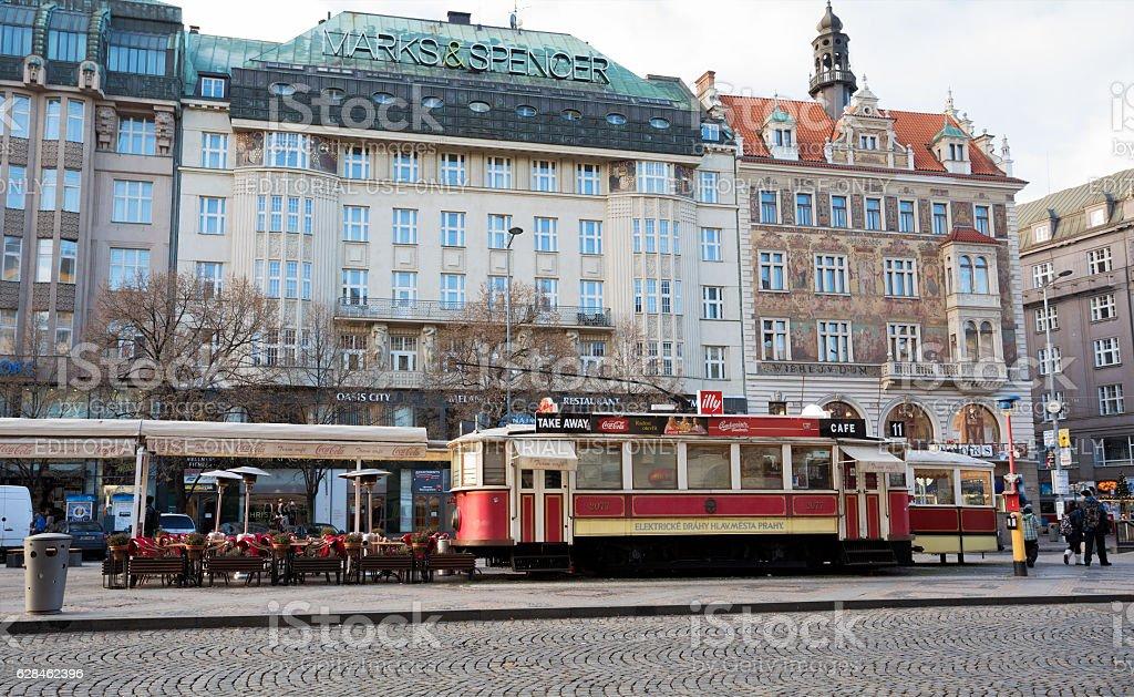 Restoran like as tram on Wenceslas square stock photo