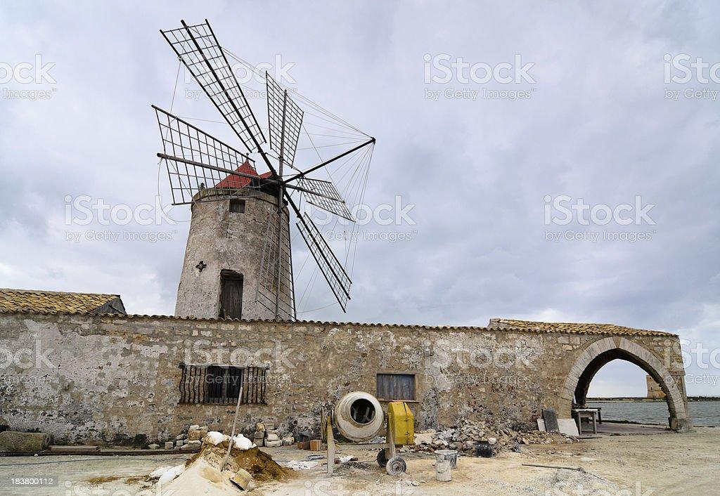 restoration of a salt mill (Sicily-Italy) royalty-free stock photo