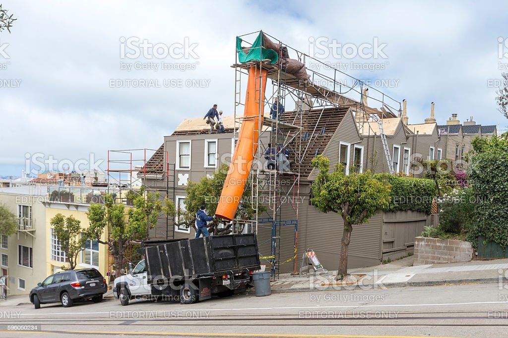 Restoration of an old building at San Francisco stock photo