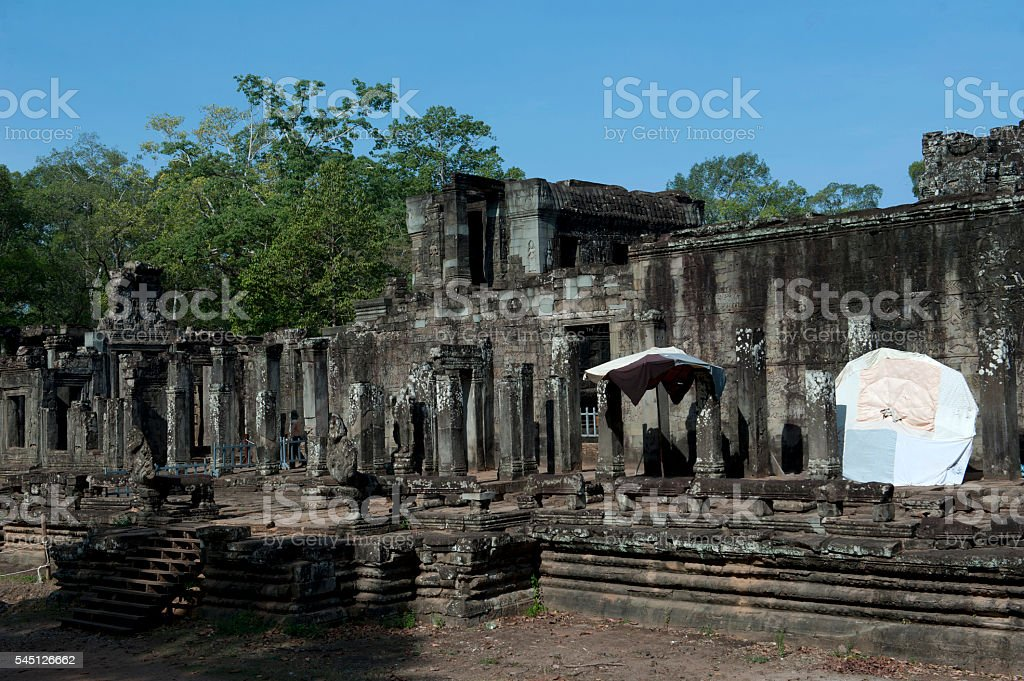 Restoration of Bayon Temple in Angkor Thom, Cambodia stock photo