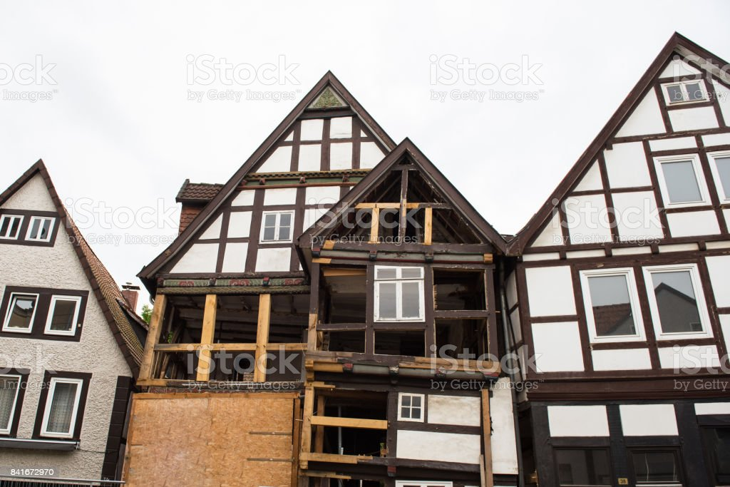 Restoration of historical facades in the city centre of the city of Detmold stock photo