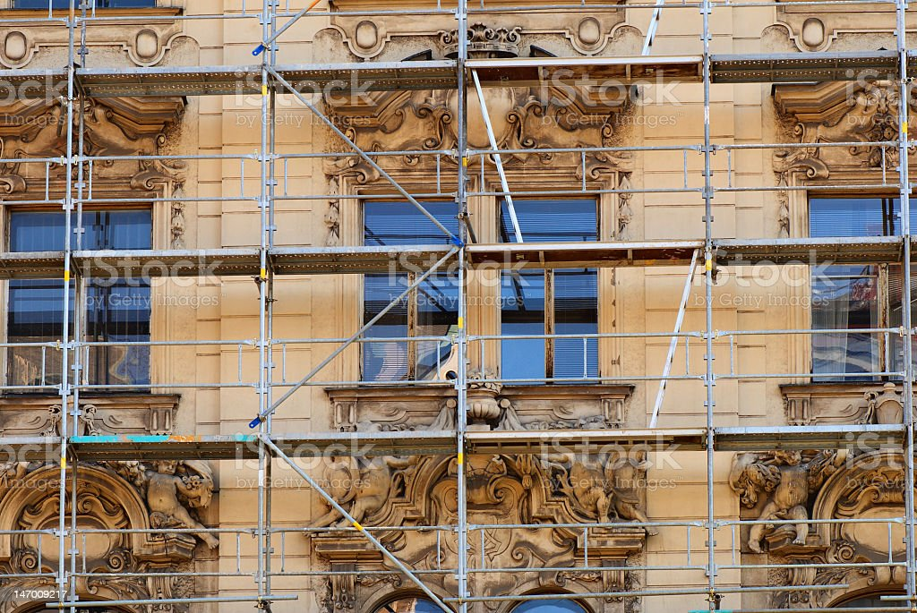 Restoration of medieval age facade building royalty-free stock photo