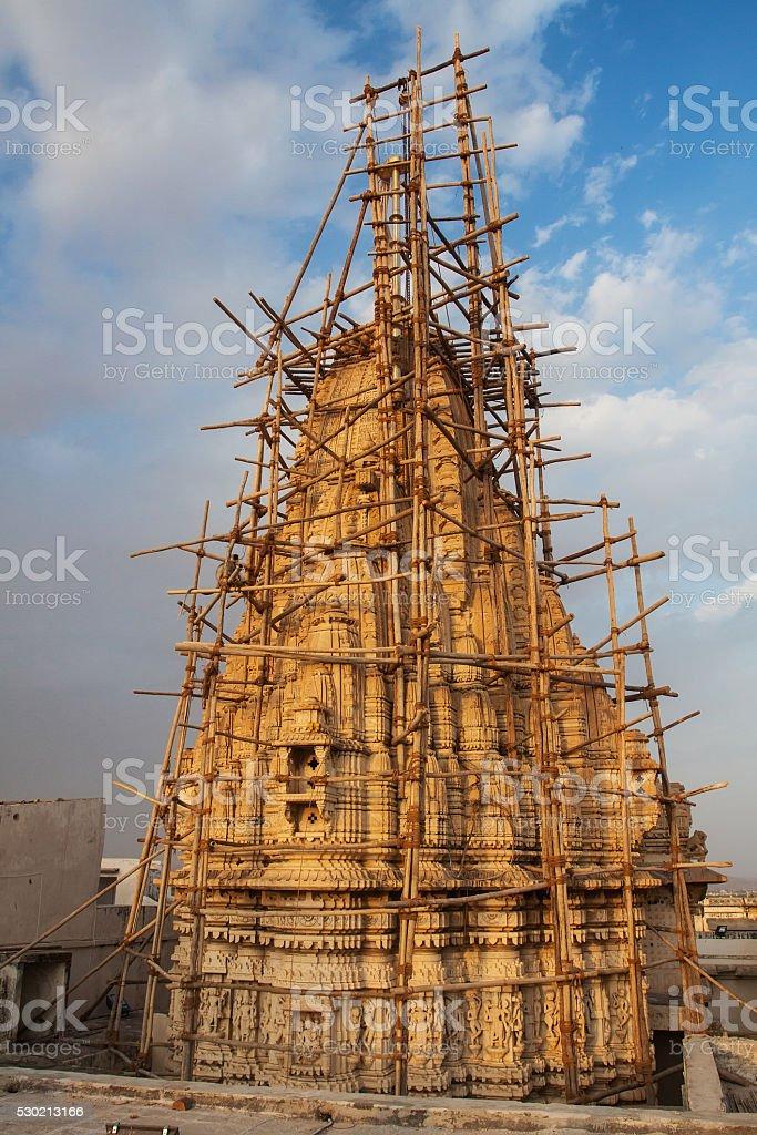 Restoration of the hindu Temple stock photo