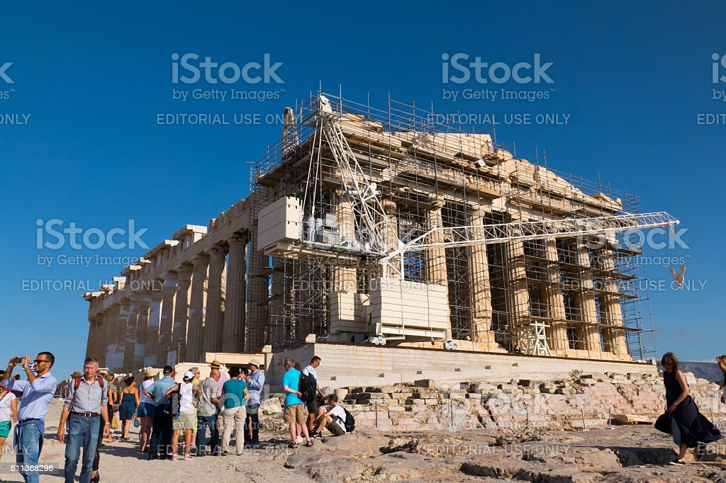 Restoration of the Parthenon, Acropolis in Athens-with tourists stock photo