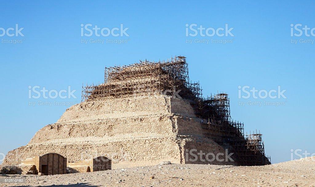 Restoration of the pyramid Djoser stock photo