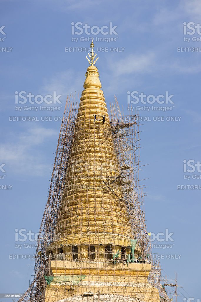 Restoration of the Stupa. royalty-free stock photo