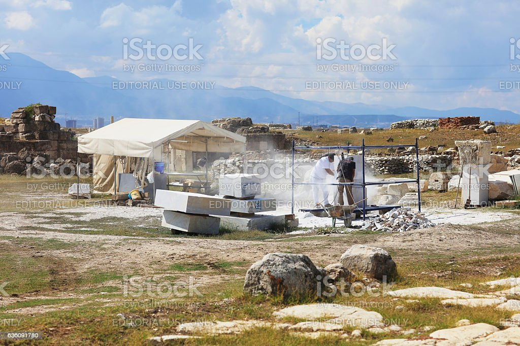 Restoration the ancient city 'Laodikeia' stock photo
