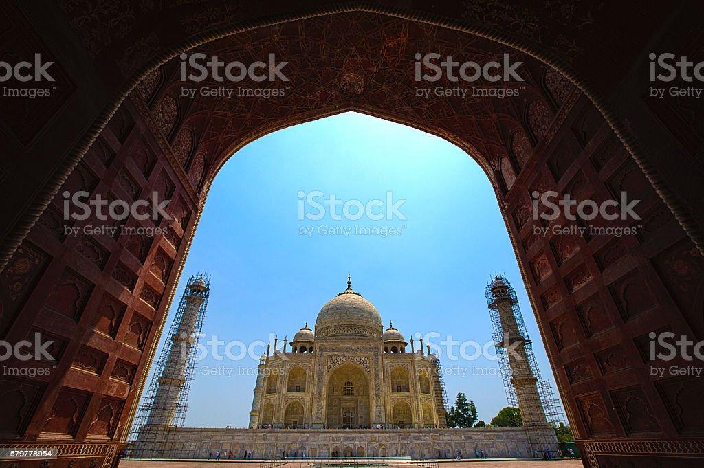 Restoration work in the Taj Mahal complex stock photo