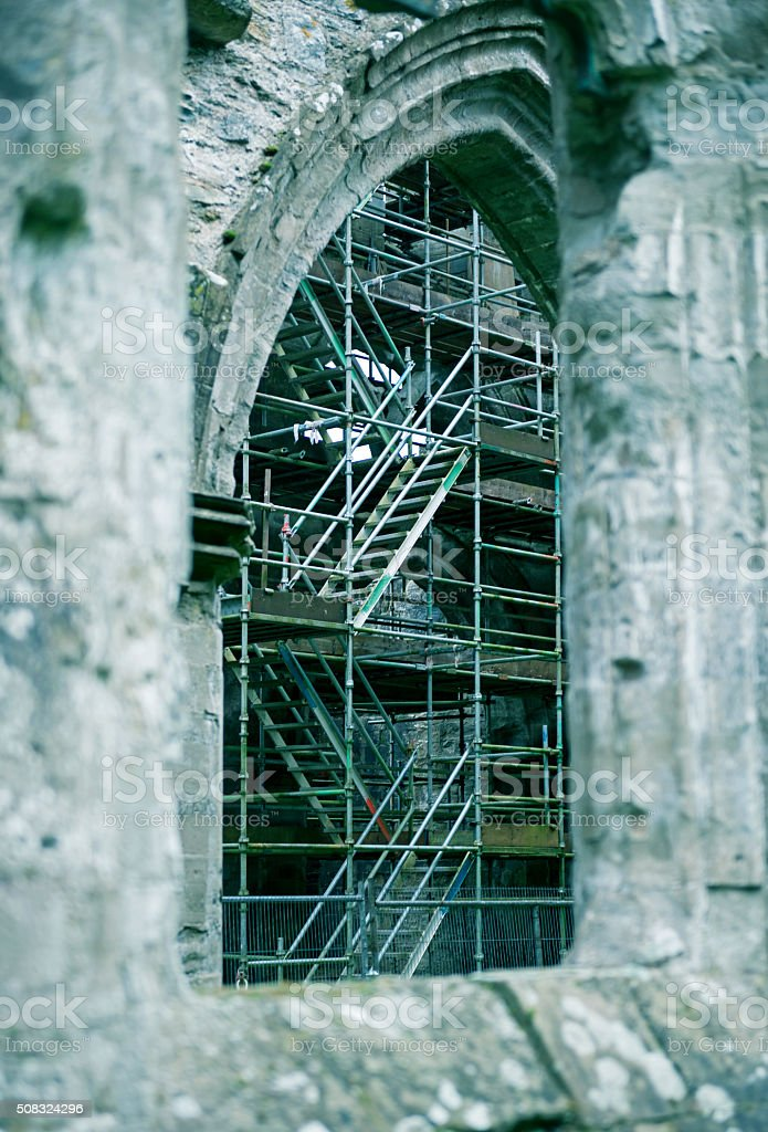Restorations in medieval cathedral at Dunkeld Scotland stock photo