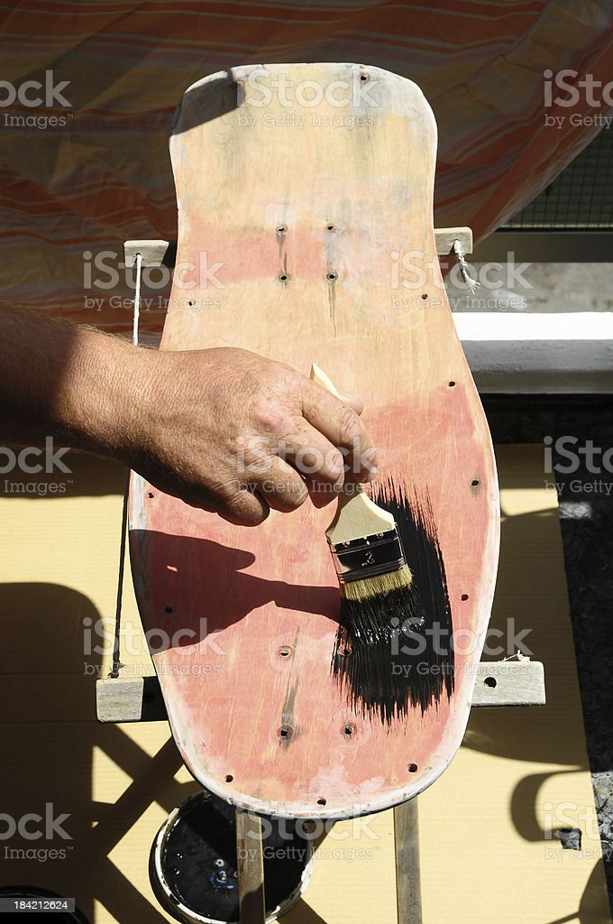 Restore an Old Vintage Skateboard royalty-free stock photo