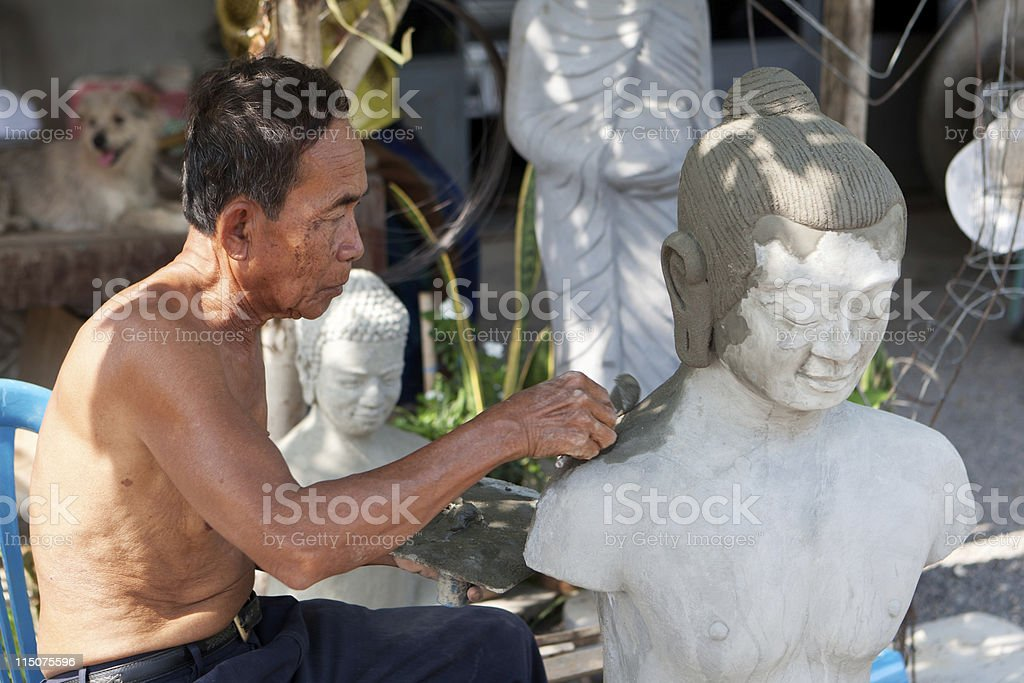 restore buddhist figure royalty-free stock photo