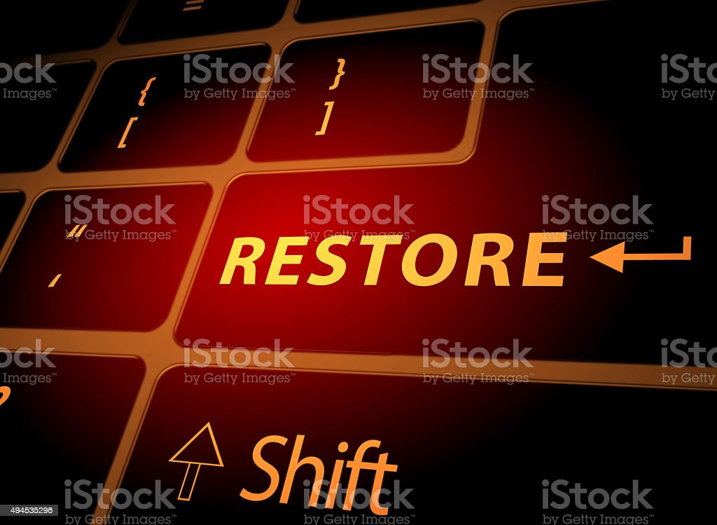 Restore button on computer keyboard vector art illustration