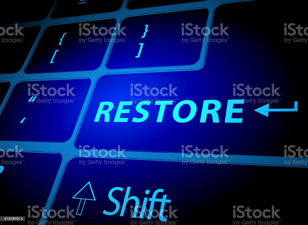 Restore button on computer keyboard stock photo