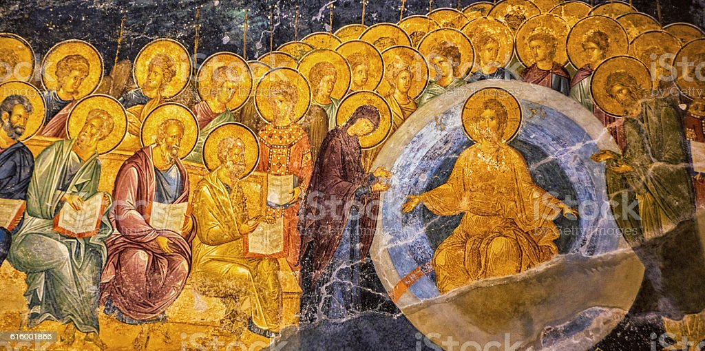 Restored Ancient Mural at Chora Church stock photo