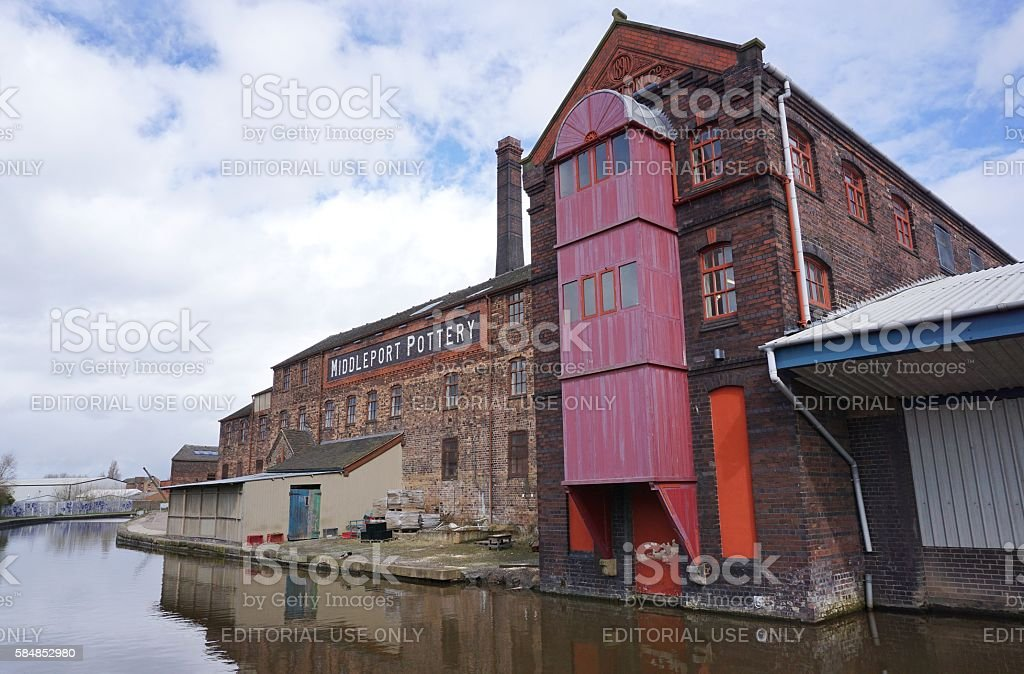 Restored factory and industrial buildings next to canal, Stoke-on-Trent stock photo