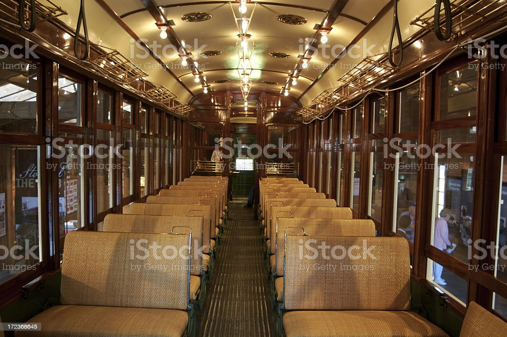 Restored Interior of 1912 Trolley royalty-free stock photo