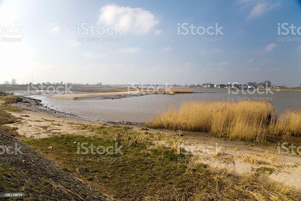 Restored nature along Dutch river stock photo