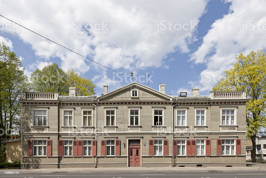 Restored old building at the Kalnciema street, Riga, Latvia royalty-free stock photo