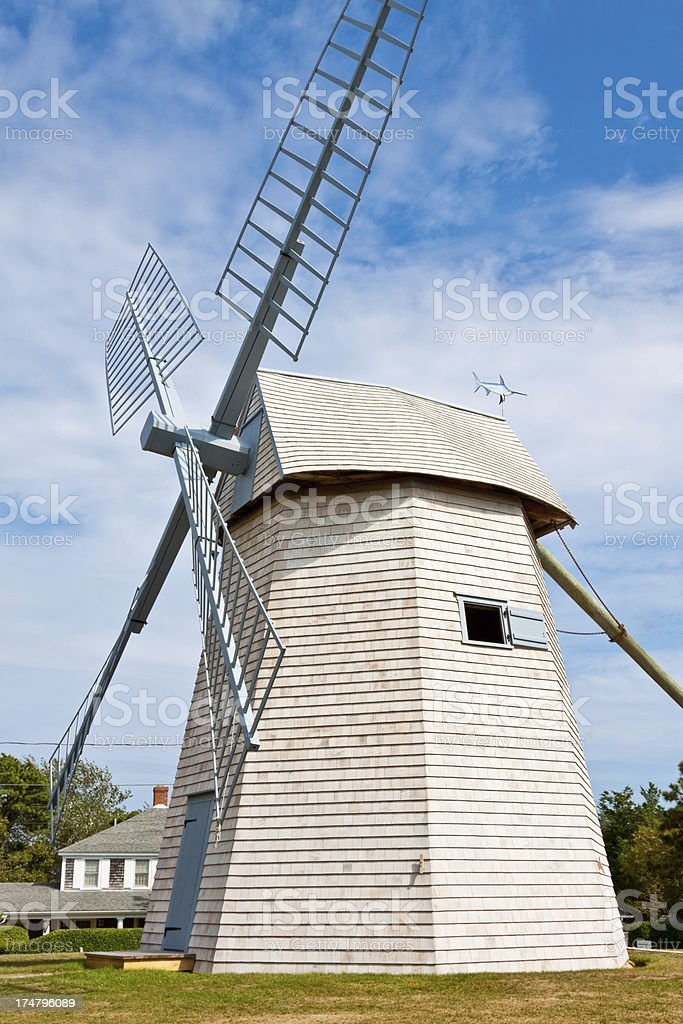 Restored Old Grist Mill, Chatham, Cape Cod, Massachusetts, USA. stock photo