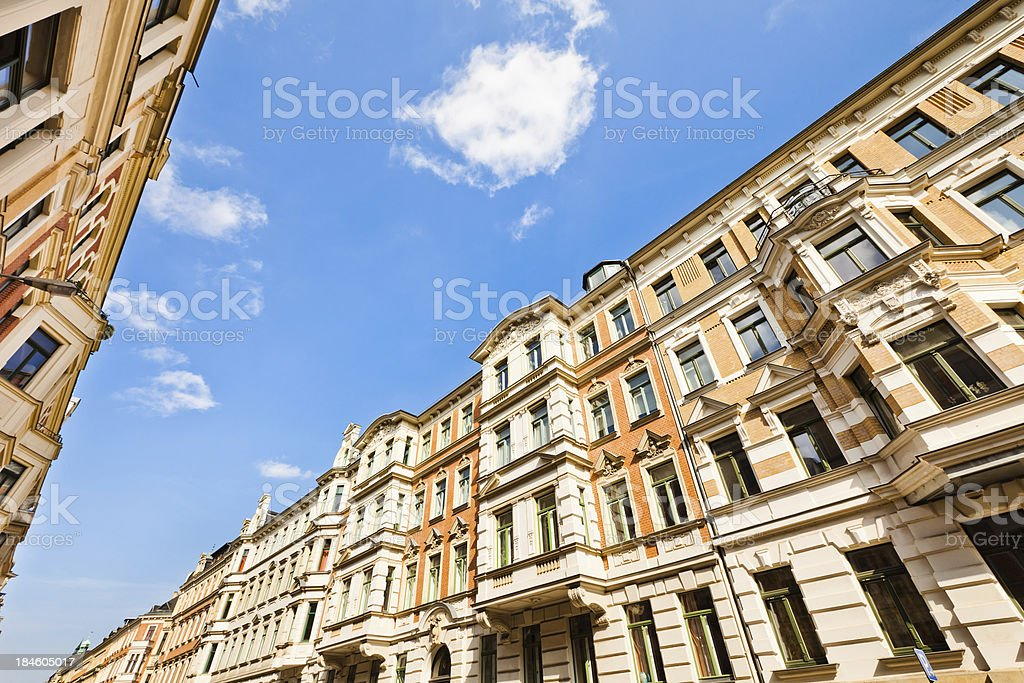 Restored Old Townhouses royalty-free stock photo