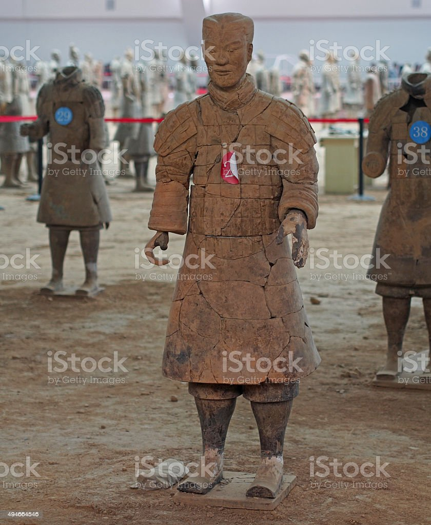 Restored Terracotta Warrior Soldier near Xi'an Shaanxi China stock photo