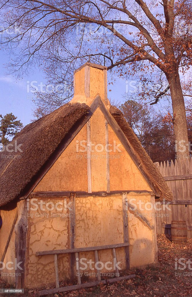 Restored Thatch Roof House James River Historic Jamestown Settlement Virginia stock photo