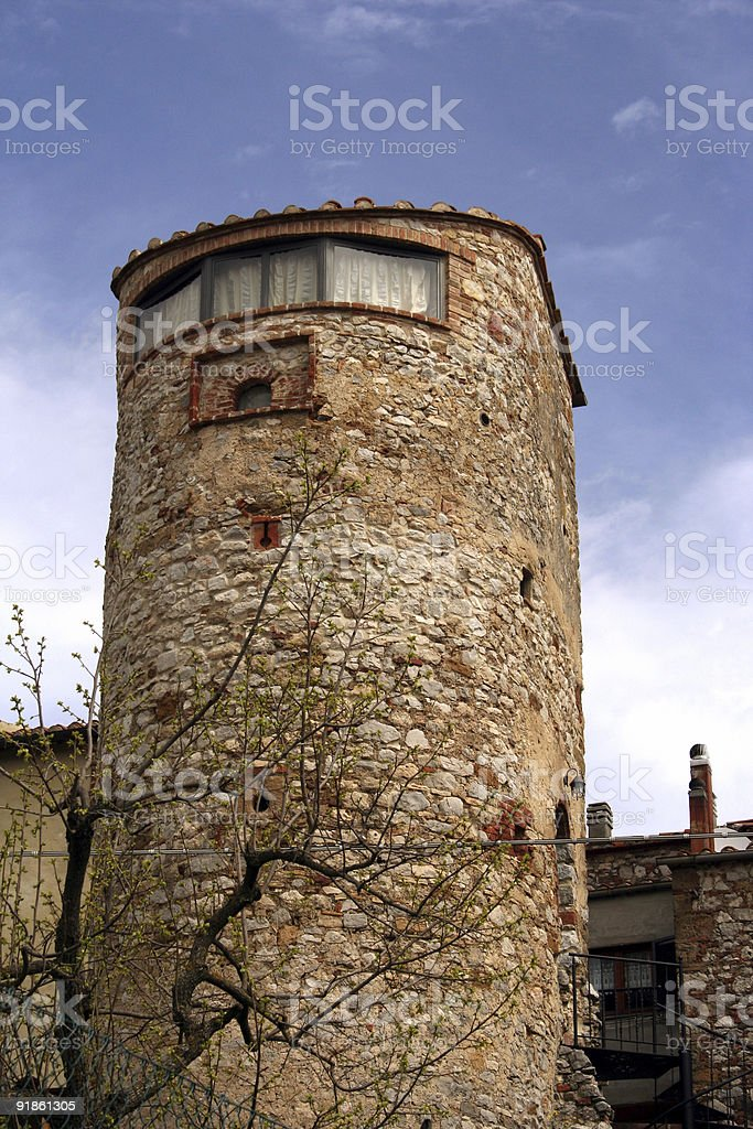 Restored tower in Tuscany royalty-free stock photo