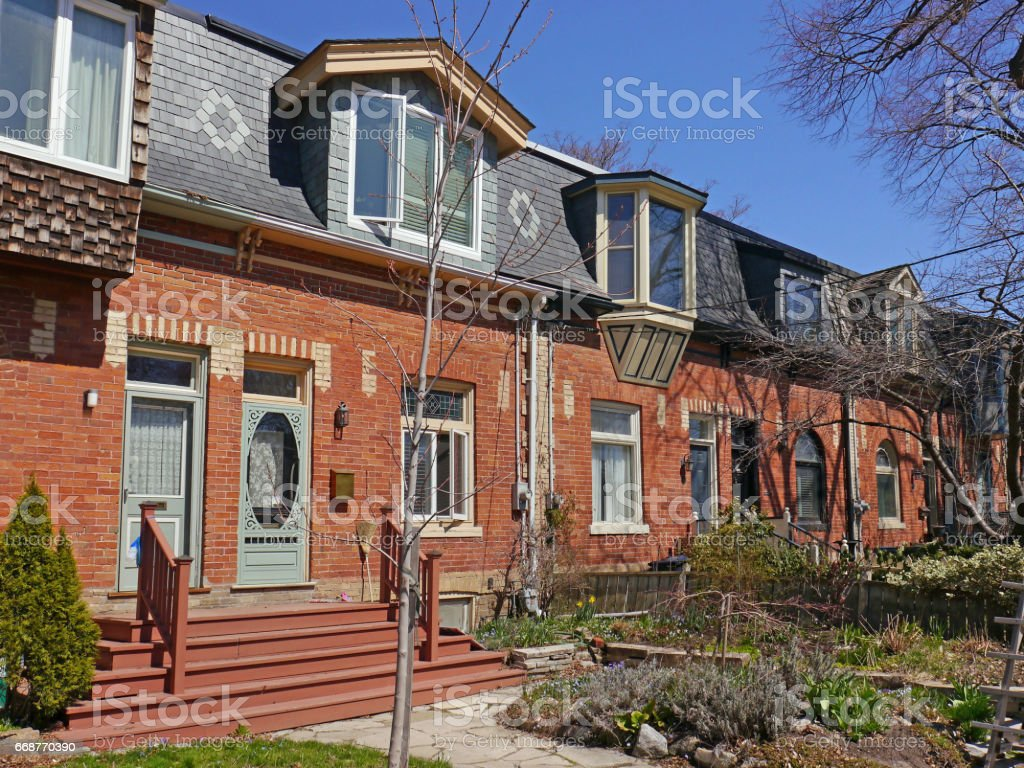 Restored Victorian houses stock photo