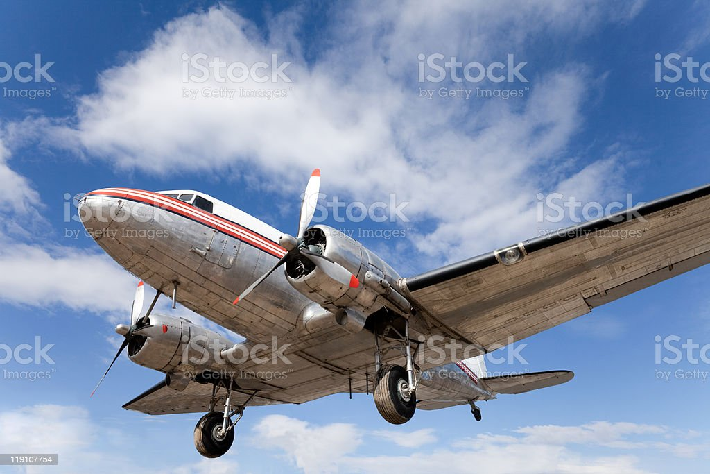 Restored vintage airplane DC-3 royalty-free stock photo