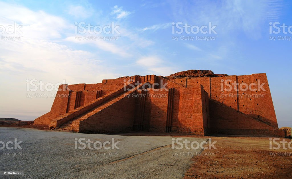 Restored ziggurat in ancient Ur stock photo