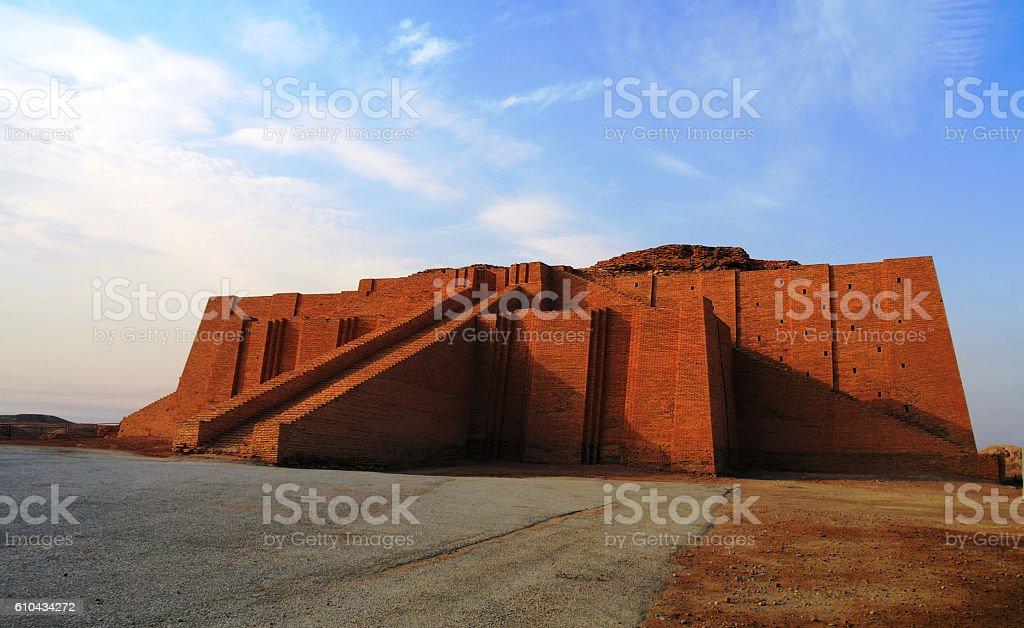 Restored ziggurat in ancient Ur stock photo