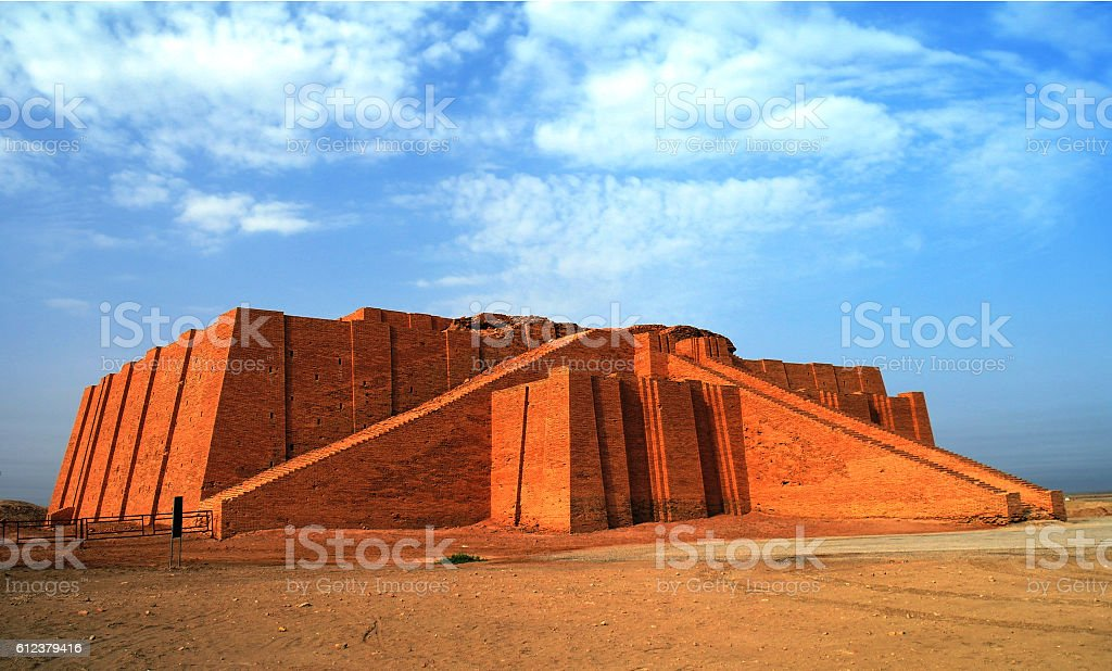 Restored ziggurat in ancient Ur, sumerian temple, Iraq stock photo