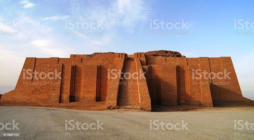 Restored ziggurat in ancient Ur, sumerian temple, Iraq stock photo