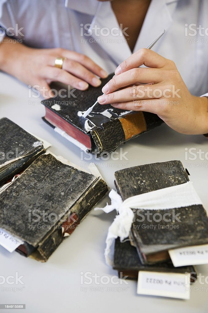 Restoring antique Books royalty-free stock photo