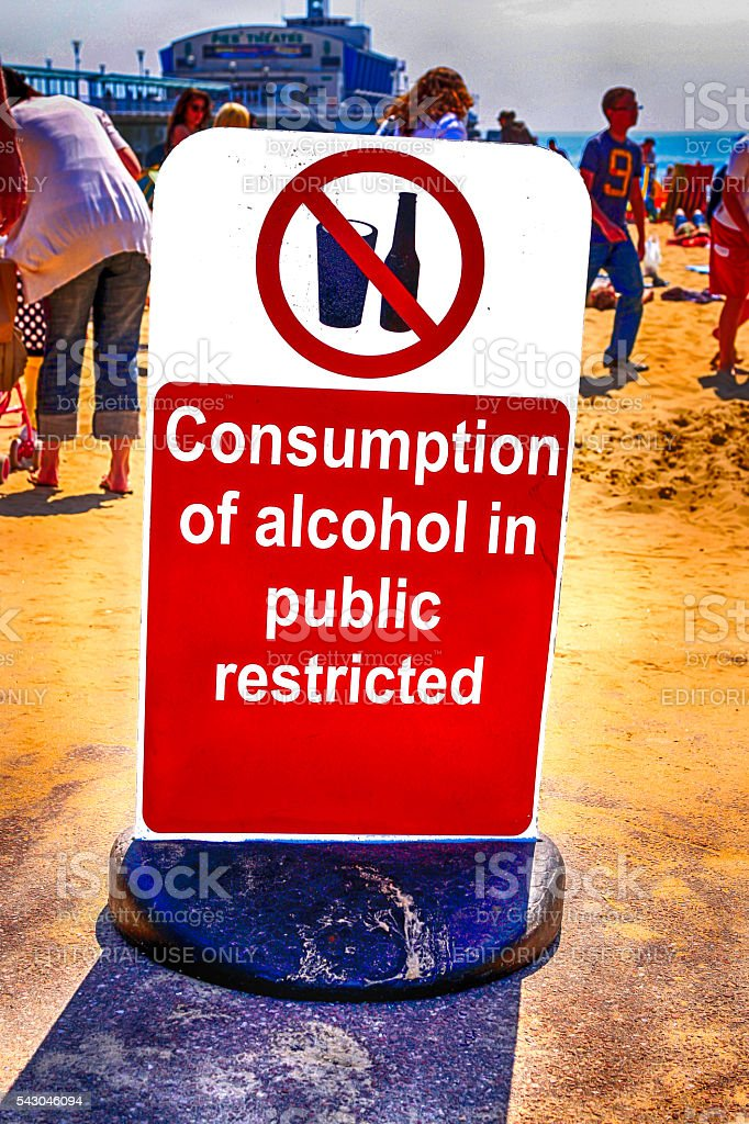 Restricted Alcohol consumption sign on the beach at Bournemouth, UK stock photo