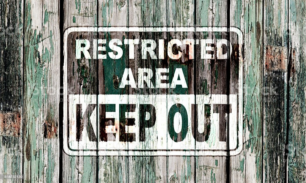Restricted area notice stock photo