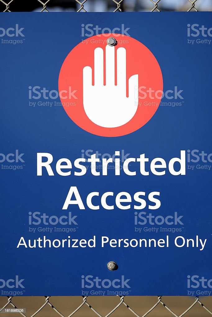 Restricted Area Sign stock photo
