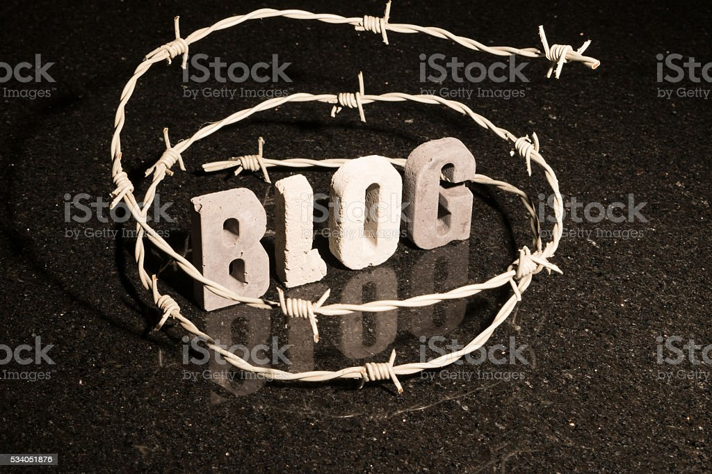 Restricted freedom of blogging stock photo