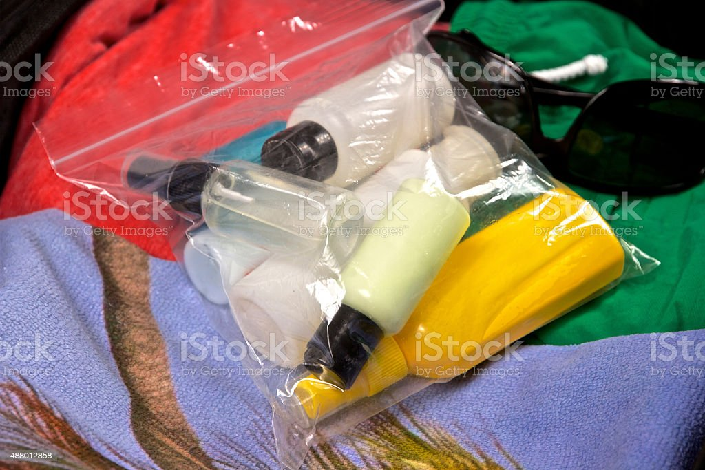 Restricted Hand Baggage Liquids Plastic Bag stock photo