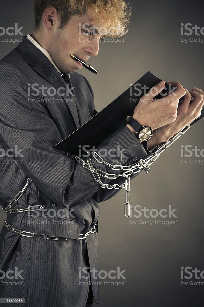 restricted in movement businessman stock photo
