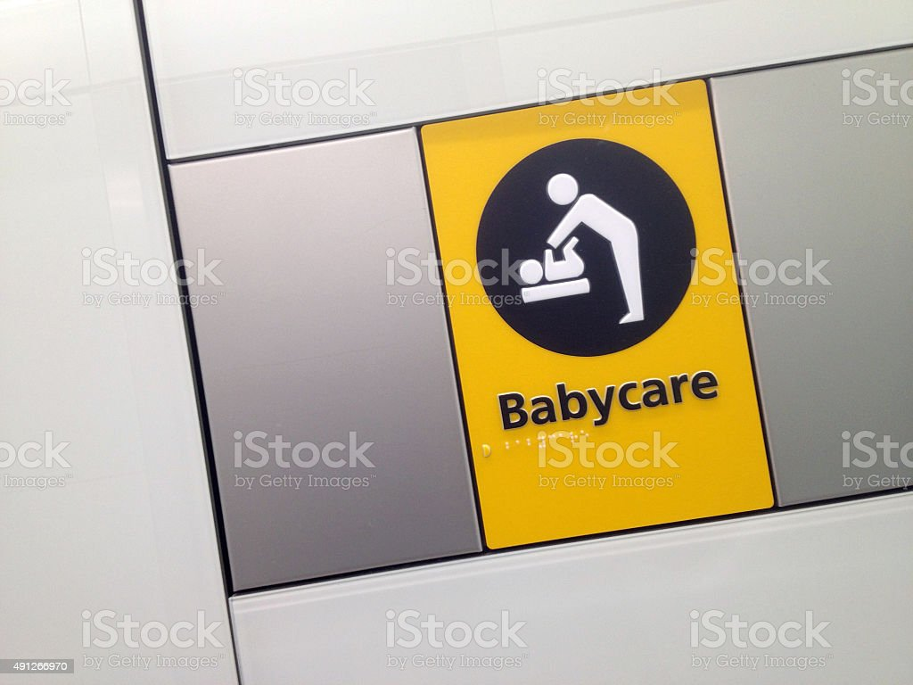 Restroom Sign Babycare baby changing stock photo