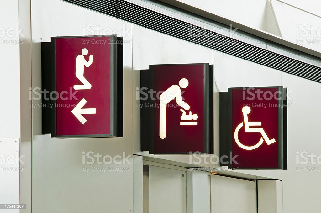 restroom sign in the airport stock photo