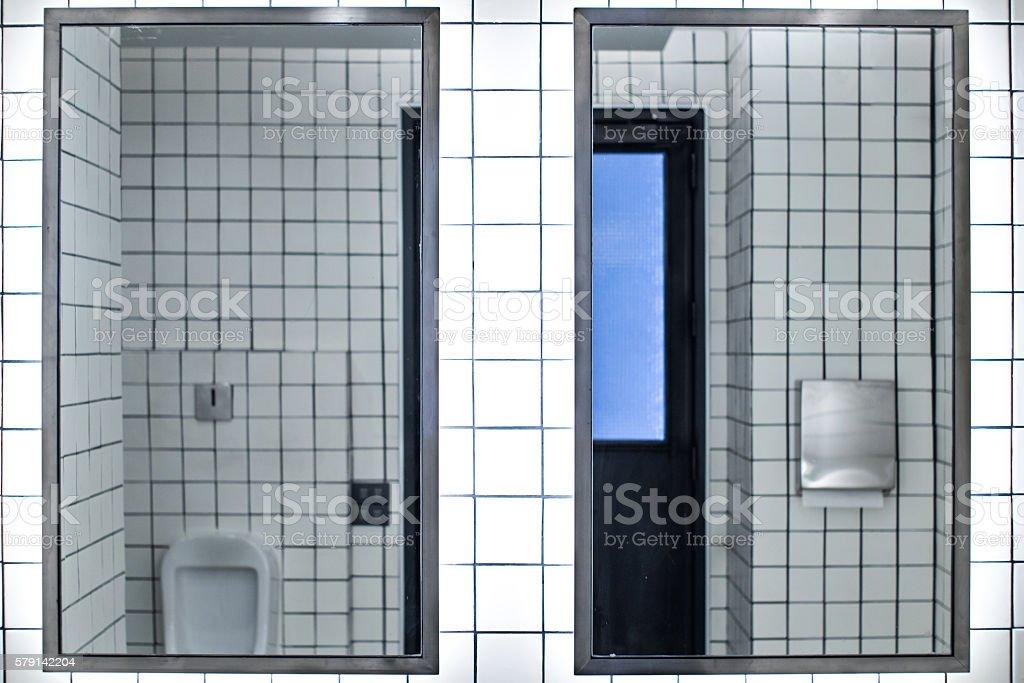 restroom white tiles. stock photo