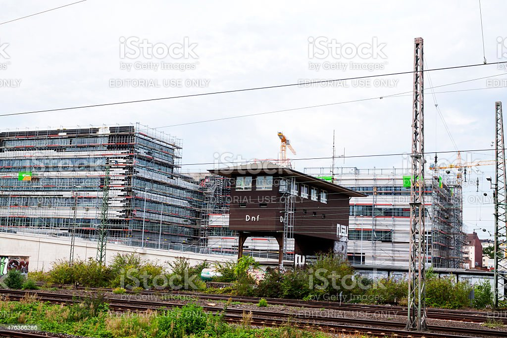 Restructuring area of station D?sseldorf Derendorf stock photo